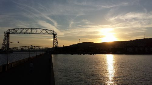 Lift Bridge at sunset Duluth Harbor